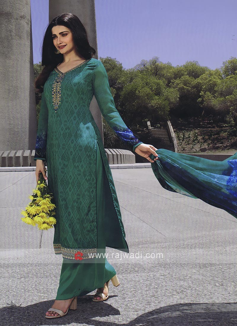 Peacock Blue Color Palazzo Suit