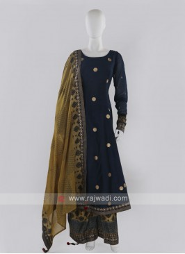 Peacock blue color Palazzo Suit with dupatta