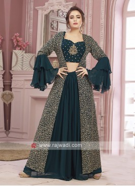 Peacock blue color palazzo suit with koti
