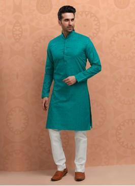 Peacock Blue Cotton Silk Kurta Pajama