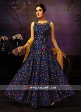 Peacock Blue Crepe Silk Anarkali Suit
