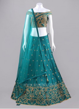 Peacock Blue Embroidered Choli Suit