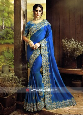 Peacock Blue Embroidered Saree