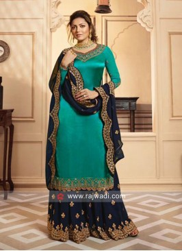Peacock Blue Embroidered Suit with Dupatta