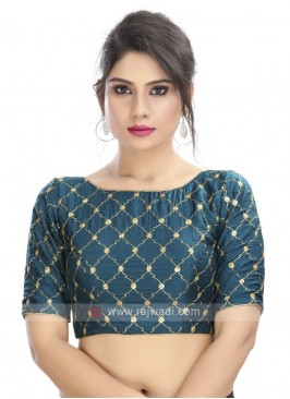 Peacock Blue Embroidery Ready Blouse