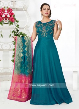 Peacock Blue Floor Length Anarkali Dress