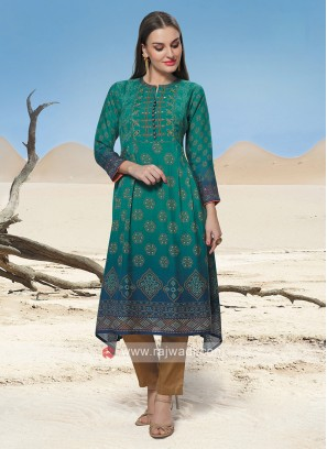 Peacock Blue & Green Shaded Kurti