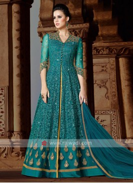 Peacock Blue Heavy Salwar Suit