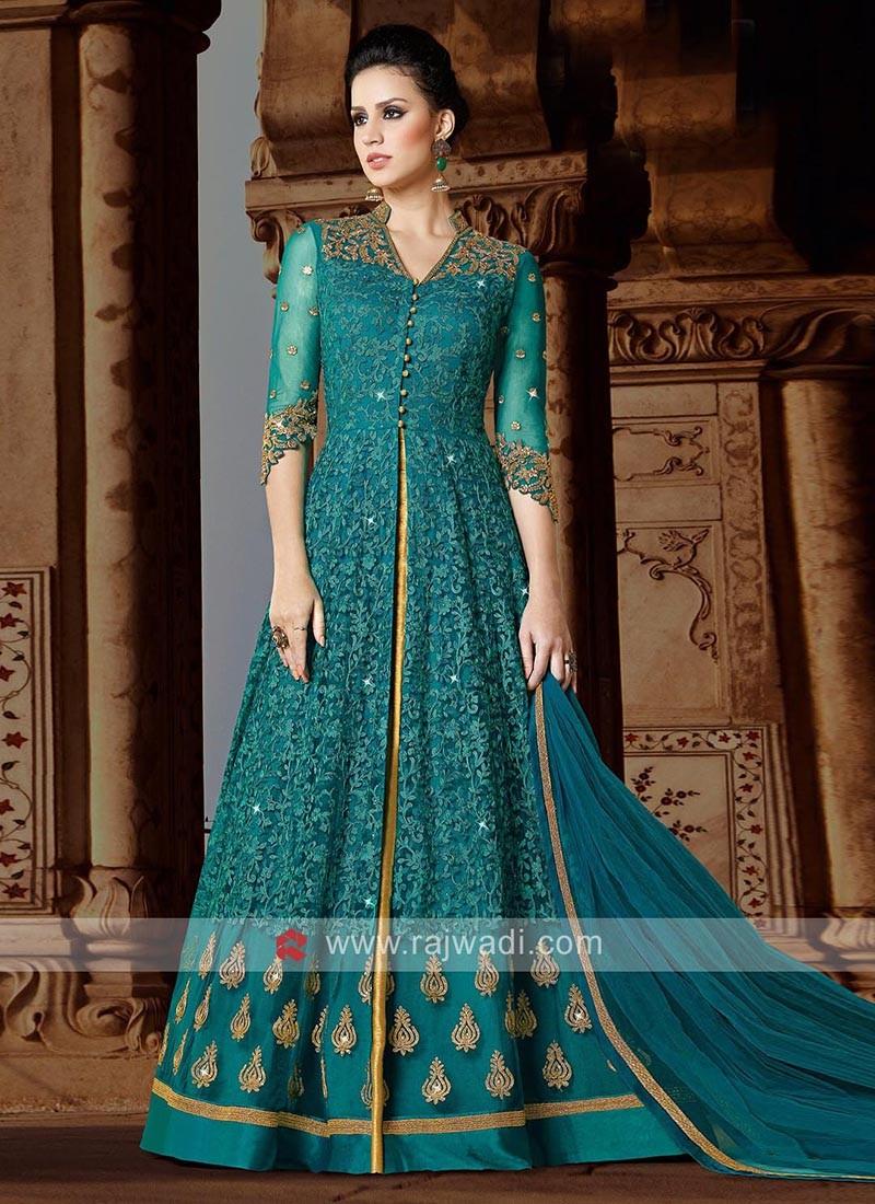 Peacock Blue Heavy Salwar Suit