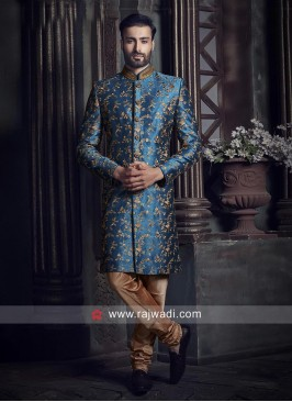 Peacock Blue Indo Western with Golden Churidar