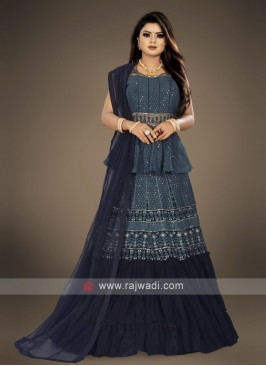 peacock blue lehenga choli suit