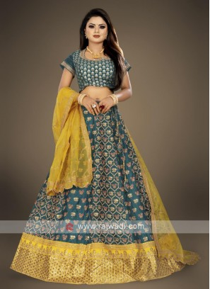 peacock blue lehenga choli suit with yellow dupatta