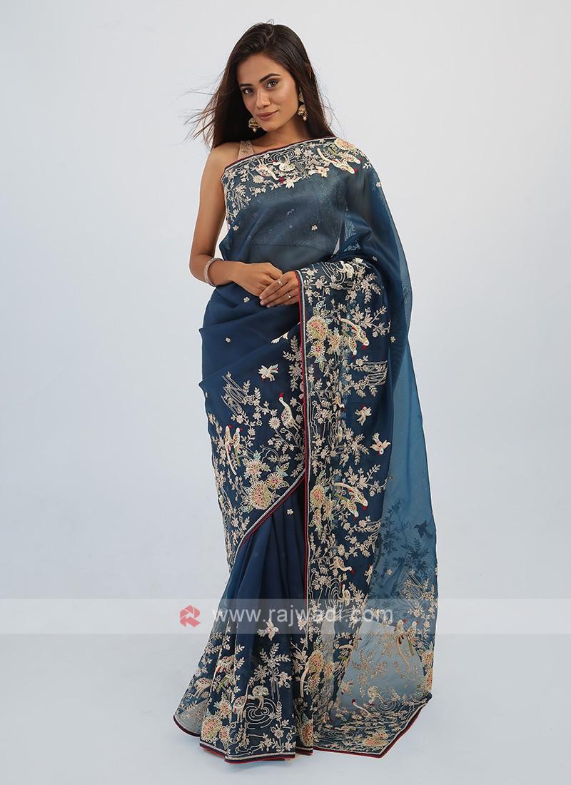 Peacock Blue Net Saree