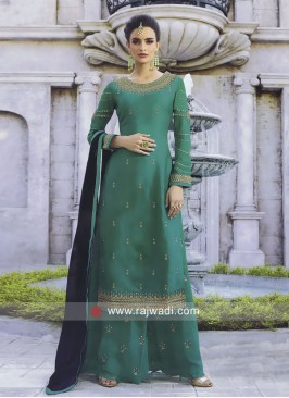 Peacock Blue Palazzo Suit with Blue Dupatta