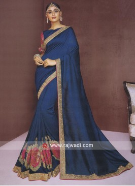 Peacock Blue Patch Work Saree