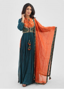 Peacock Blue Salwar Suits For Occasion