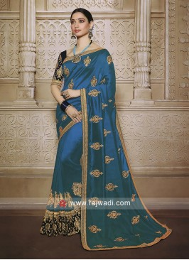 Peacock blue saree with blouse