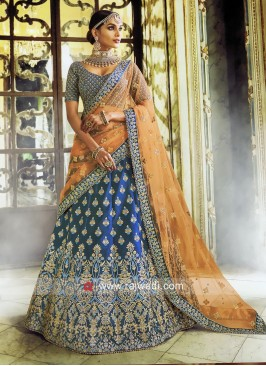 Peacock Blue Satin Lehenga Choli