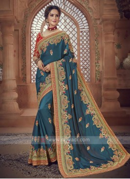 Peacock Blue Satin Silk Saree