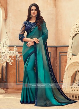 Peacock Blue Shaded Chiffon Saree