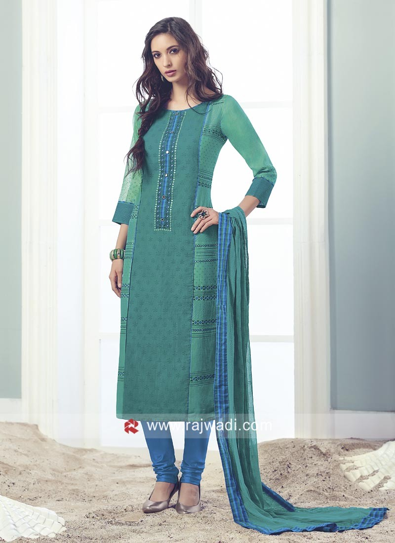 Peacock Blue Stitched Salwar Suit in Cotton Silk