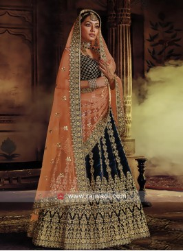 Peacock Blue Velvet Heavy Lehenga Choli