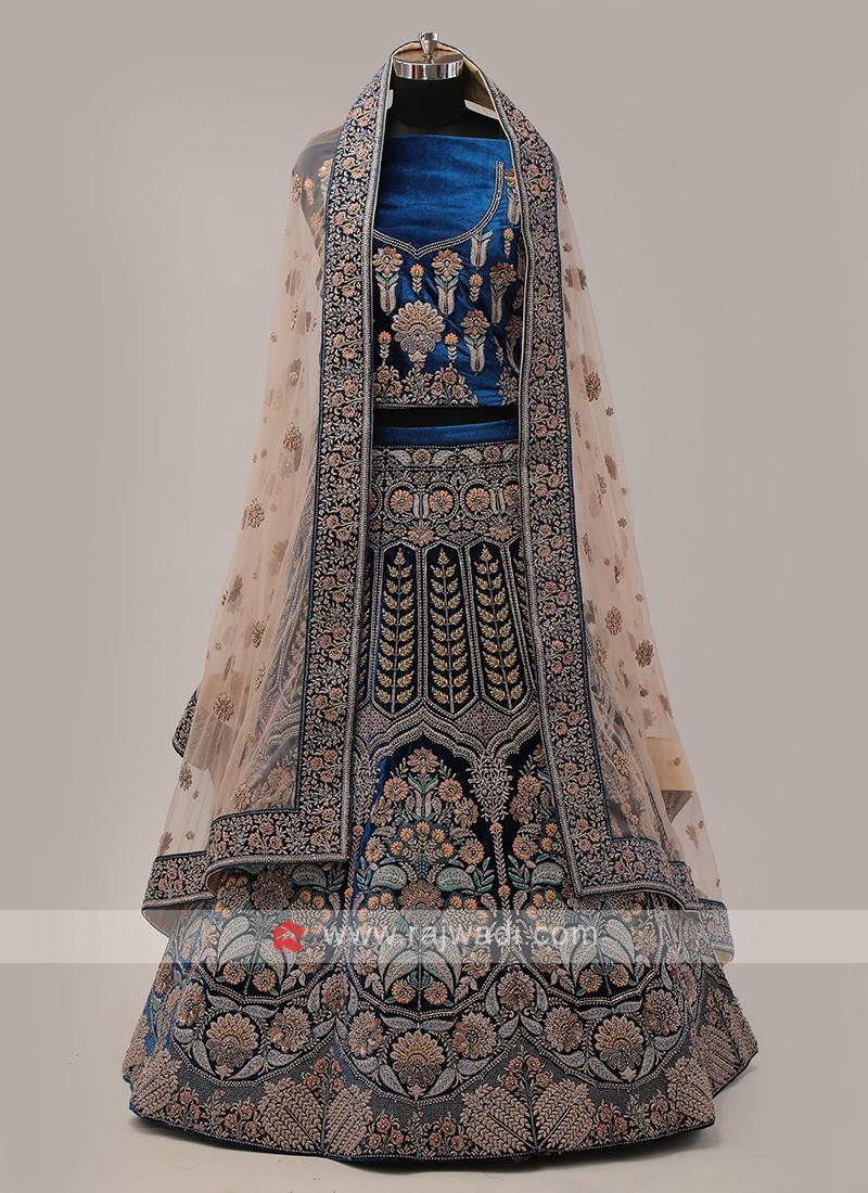 Peacock Blue Velvet Lehenga Choli