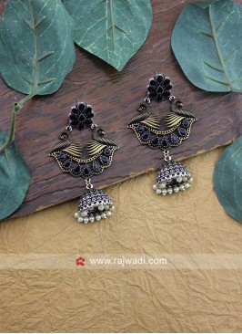 Peacock Motifs Jhumka Earrings