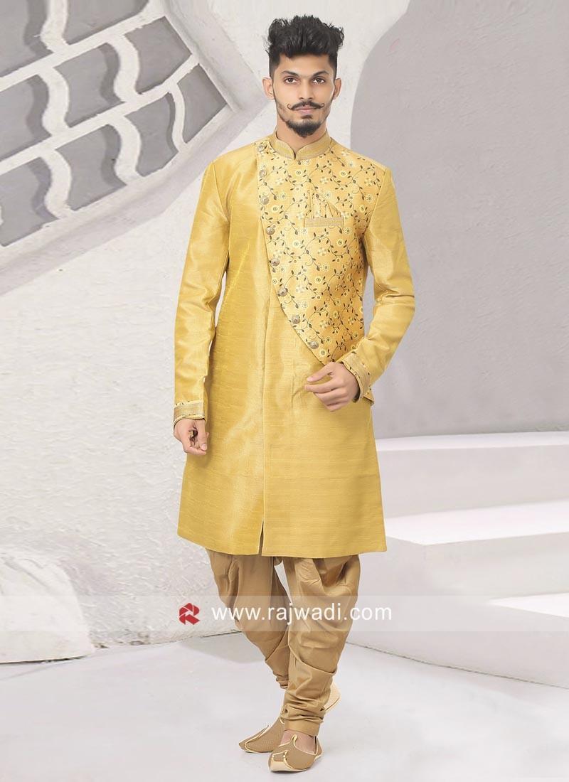 090e56e3b6 Yellow Color Indo Western For Wedding