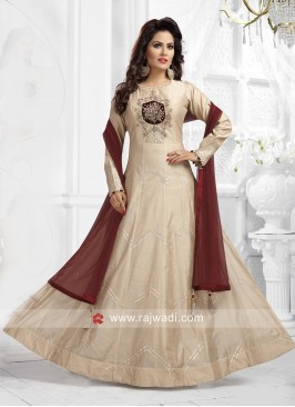 Pearl and Resham Work Anarkali Dress