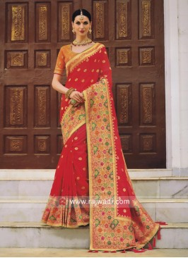 Pearl and Resham Work Wedding Saree
