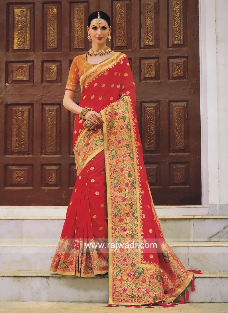 Pearl and Resham Work Wedding Saree
