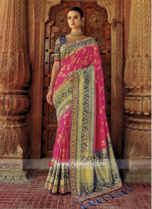 Pearl and Sequins Work Sari in Pink