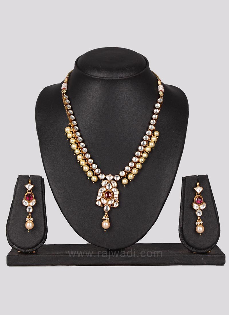 Pearl and Stone Beads Necklace Set with Earrings