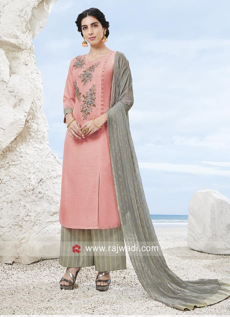 Pearl and Stone Work Palazzo Suit