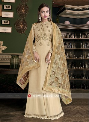 Pearl and Zari Work Unstitched Palazzo Suit