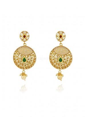 Pearl Chandbali Jhumki Earrings