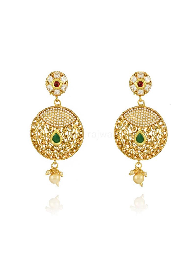 Pearl Chandbali Jhumki Earrings