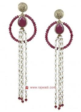 Pearl Circular Hoop Earrings