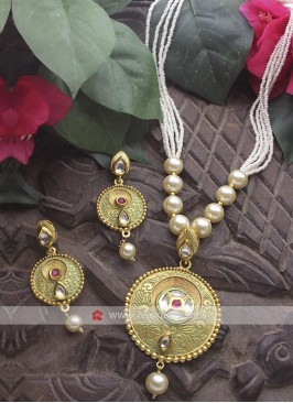 Pearl Drop Golden Necklace Set