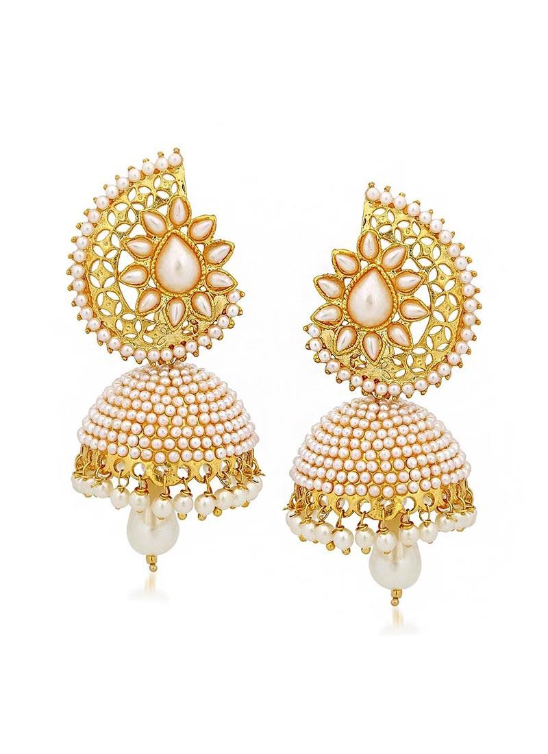 Pearl Drop Jhumki Earrings