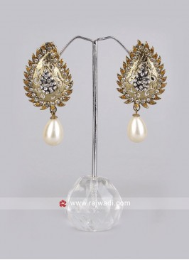 Pearl Drop Leaf Earrings