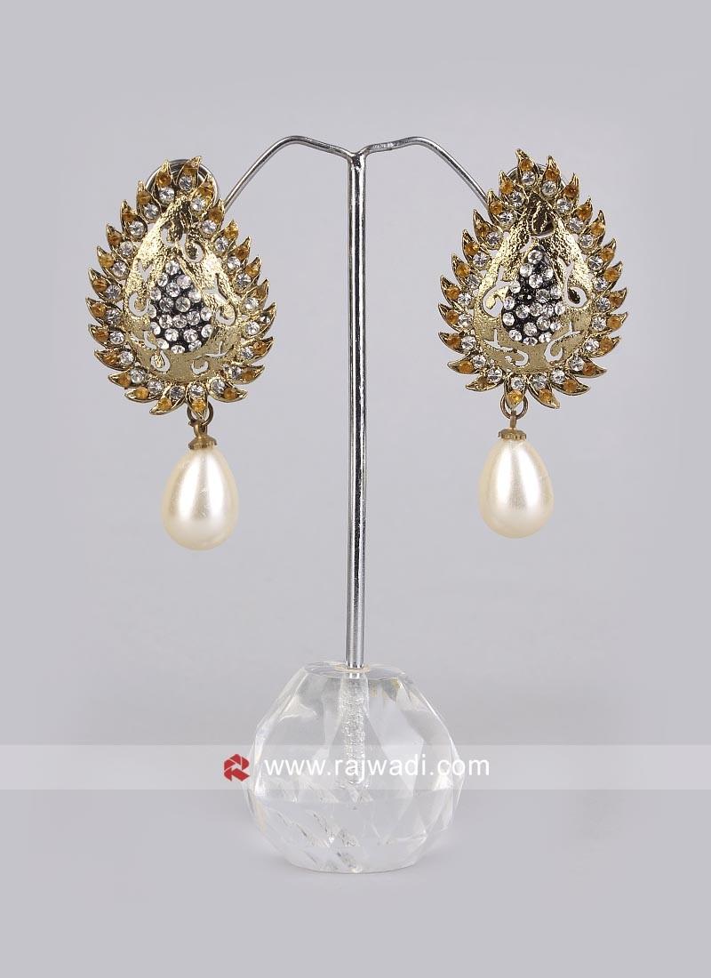 Pearl Drop Leaf Earrings