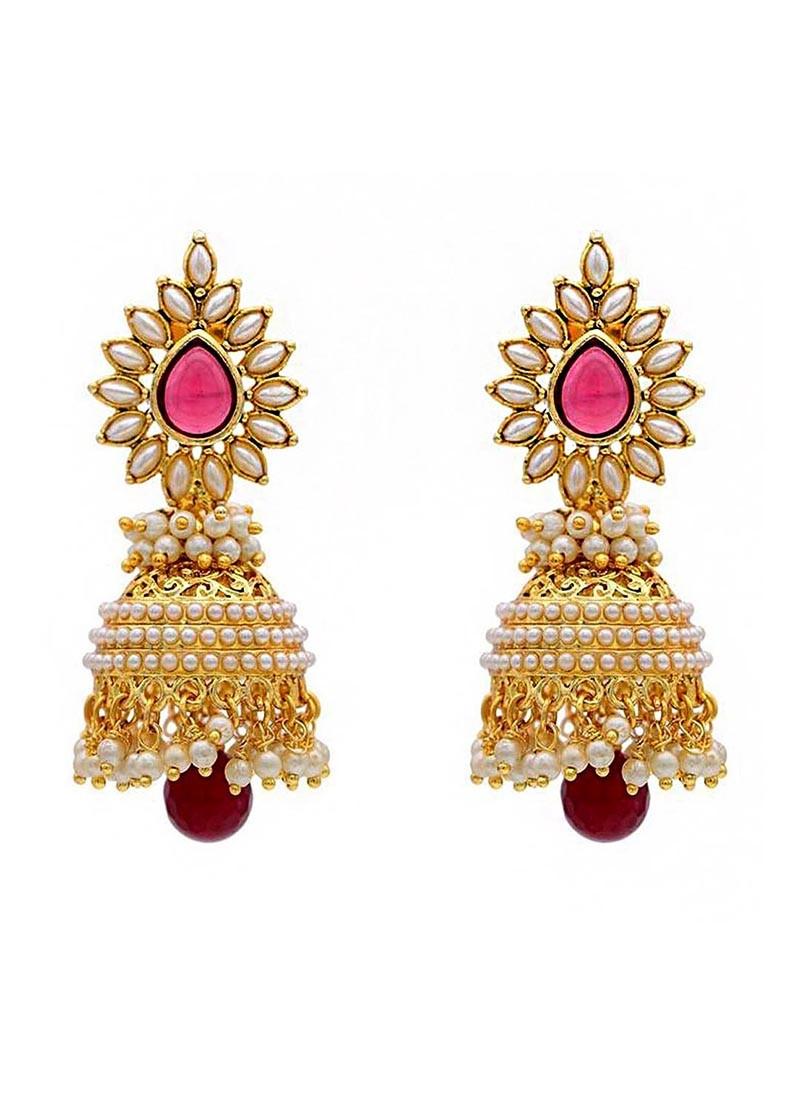 Pearl Glorious  Marsala Jhumki Earrings