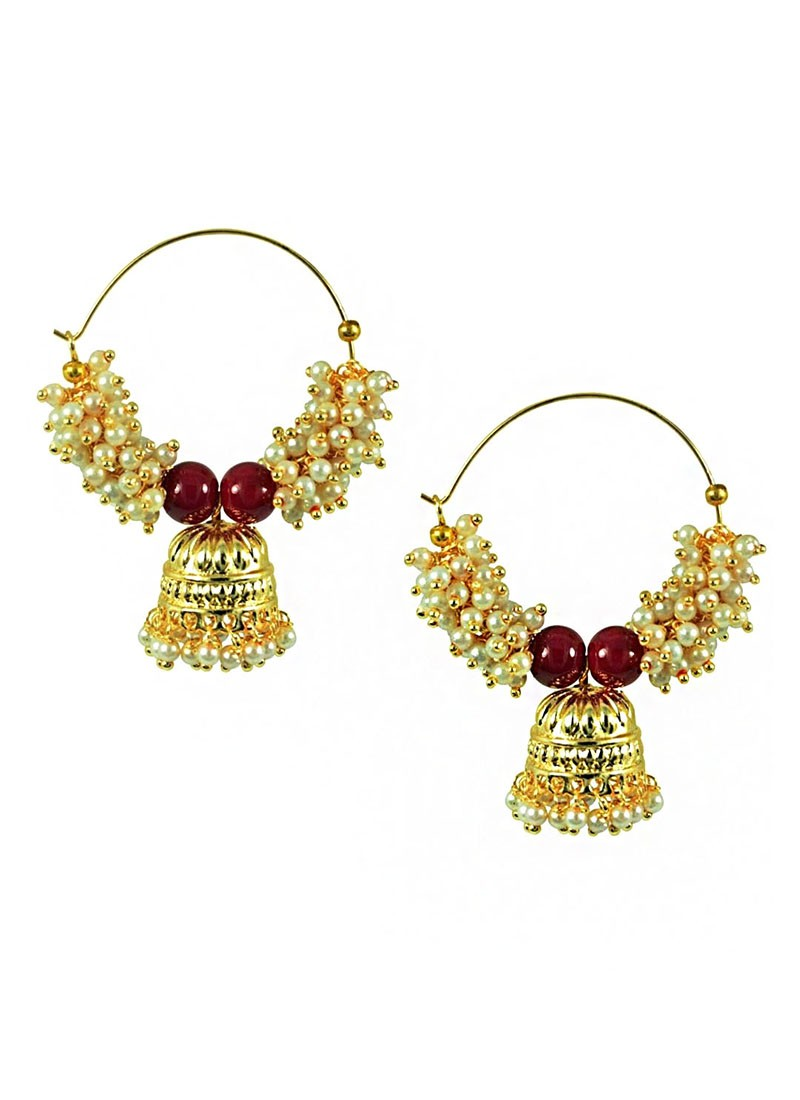 Pearl Hoop Jhumki Earrings