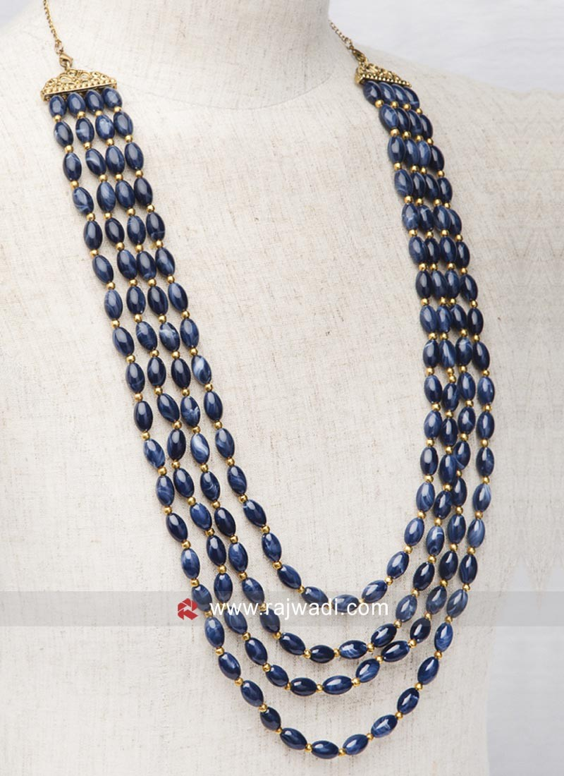 Blue Pearl Mala For Groom