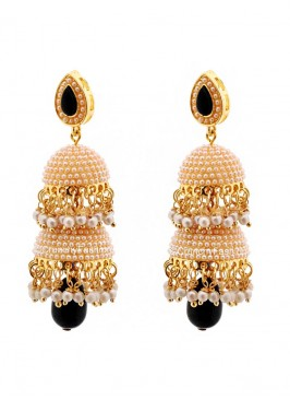 Pearl Traditional Black Drop Jhumki Earrings
