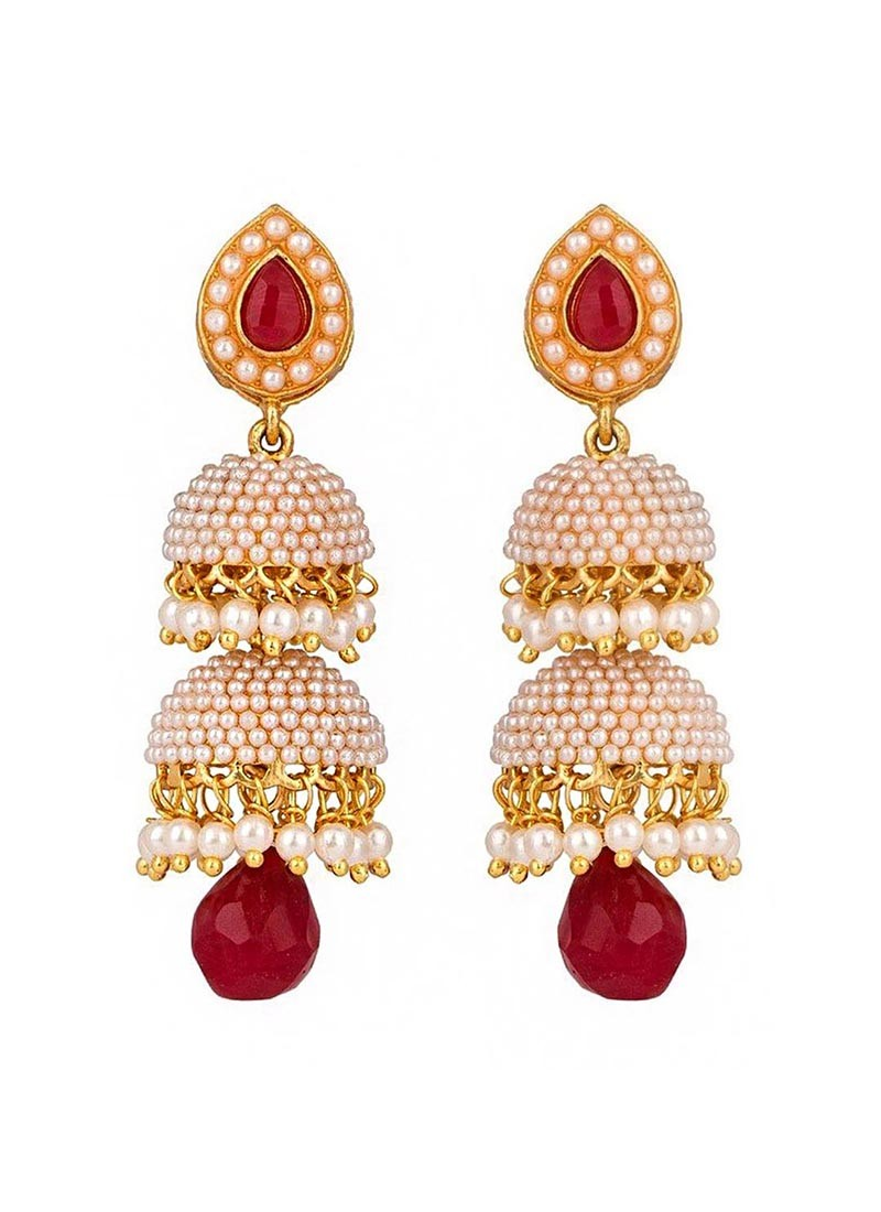 Pearl Traditional Marsala Layered Jhumki Earrings