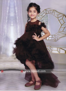 Pearl Work Long Trail Gown for Kids