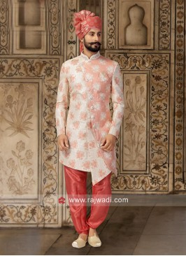 Stylish Light Peach Color Indo Western